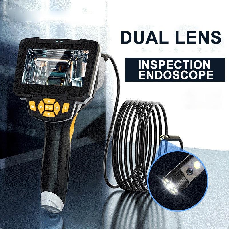 Двойной объектив промышленный эндоскоп Full HD 1080p водонепроницаемый автомобильный бороскоп 8 мм трубка инспекционная змеевидная камера 10 м с ...