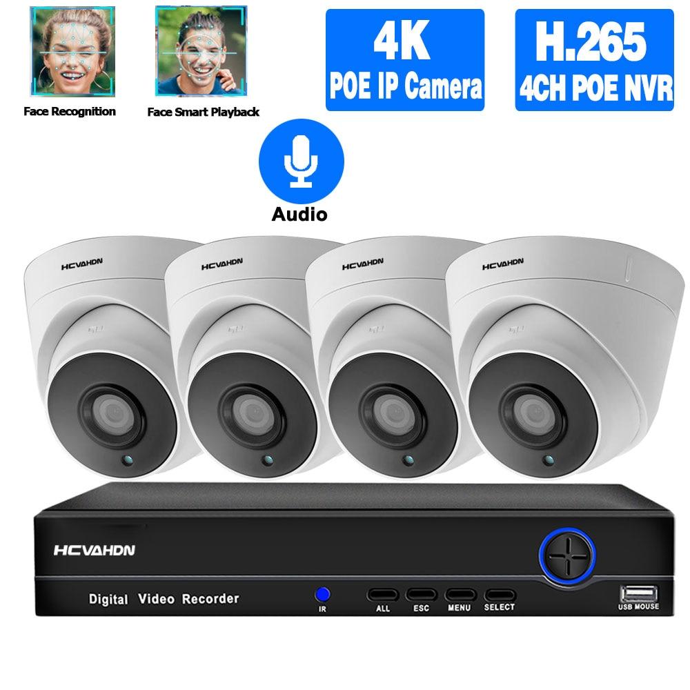 4k NVR كيت CCTV كاميرا الأمن نظام كيت POE 5MP IP كاميرا مجموعة داخلي الصوت للرؤية الليلية قبة فيديو مراقبة نظام XMEYE