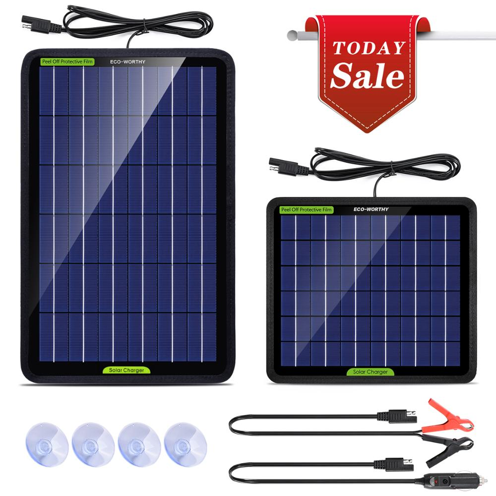 ECO-WORTHY 12V 5W10W Watt Portable Solar Panel Trickle Charger Battery Maintain With Alligator Clip For Vehicle RV Boat
