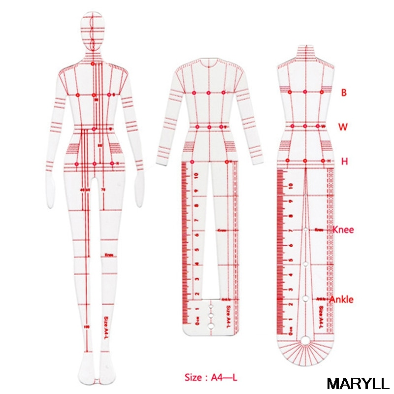 1 set Women Fashion Drawing Ruler Figure Drawing Template for Fashion Design Fashion Sketch Template Female school accessories kensuke okabayashi figure drawing for dummies