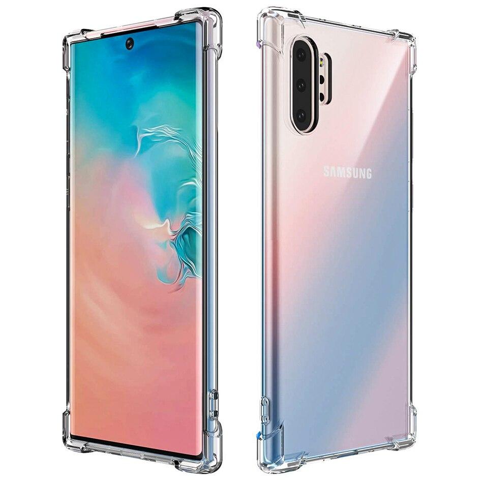 100 Uds. Super a prueba de golpes claro suave TPU caso para Samsung S20 Ultra S10 E S9 S8 Plus Note 10 Pro 9 8 cristal silicona contraportada