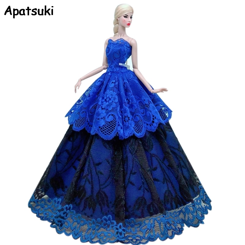 Royal Blue Lace Floral Wedding Dress For Barbie Doll Clothes Multi-layer Outfits Party Gown For 1/6 BJD Dolls Accessories Toys