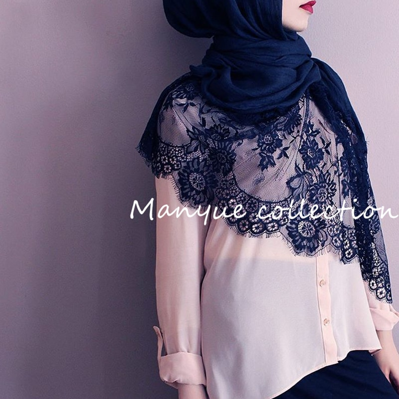 MANYUE-CO Cotton Viscose Maxi Scarf Lace Hijab Floral Lace Stole Foulard Women Long Shawl Wrap Muslim Head Scarves Hijabs Islam