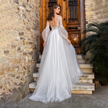 Sparkly Transparent Tulle Long Sleeves Bridal Gowns Custom Made Backless Pearls A Line Luxury Big Size Photography Wedding Dress