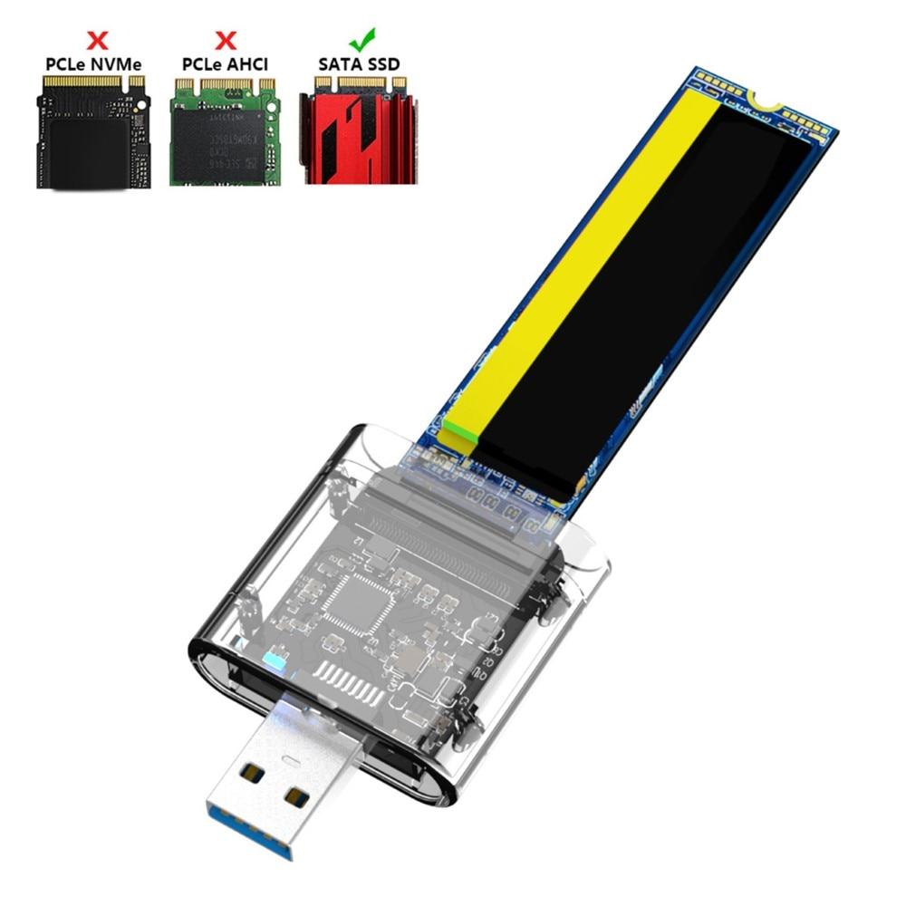 M.2 SSD Case For NVME PCIE NGFF SATA M/B Key SSD Disk NVME SSD Enclosure M.2 To USB C Transparent Hard Drive Box 5Gbps