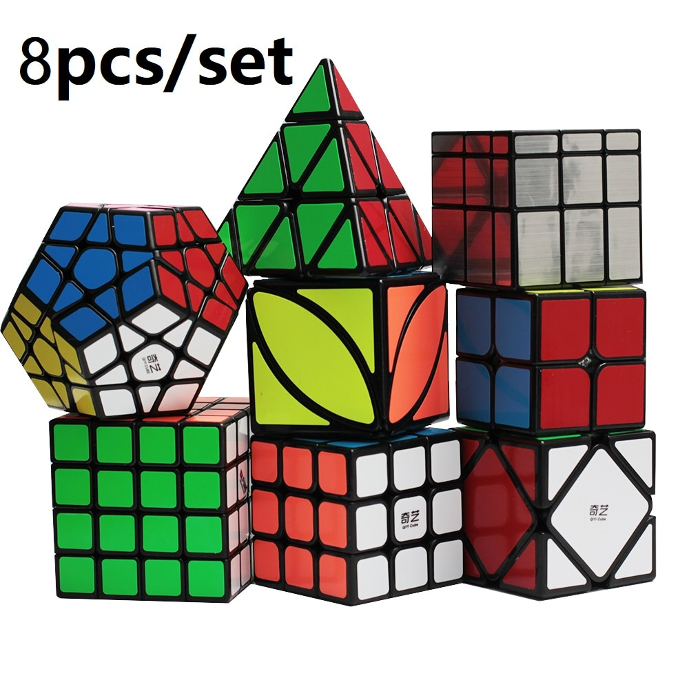 Qiyi ماجيك كيوب مجموعة التعبئة والتغليف 3x3 2x2 4x4 5x5 ماجيك كيوب تويست ألياف الكربون ستيكيرليس ميني نيو كيوب هدايا للأطفال