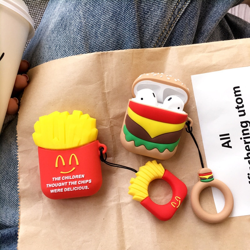 Teyomi Fun dibujos animados patatas fritas inalámbrico para Airpods Pro para AirPods 1/2 Eaphone caja de carga parejas suave carcasas cubierta de TPU