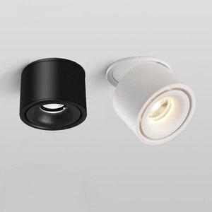 Поверхностного монтажа складной COB светодиодный даунлайт с регулируемой яркостью 7 Вт 10 Вт светодиодные потолочные лампы точечного освещения черный/белый AC85-260V