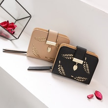 Femmes portefeuille mode sac à main femme court portefeuilles creux laisser pochette sac à main pour femmes pièce sacs à main en cuir synthétique polyuréthane porte-carte Carteira