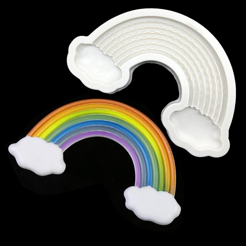 Molde para figuras de azúcar, Chocolate, Cupcake, utensilios para decoración de tortas con Fondant de gran tamaño de silicona arcoíris