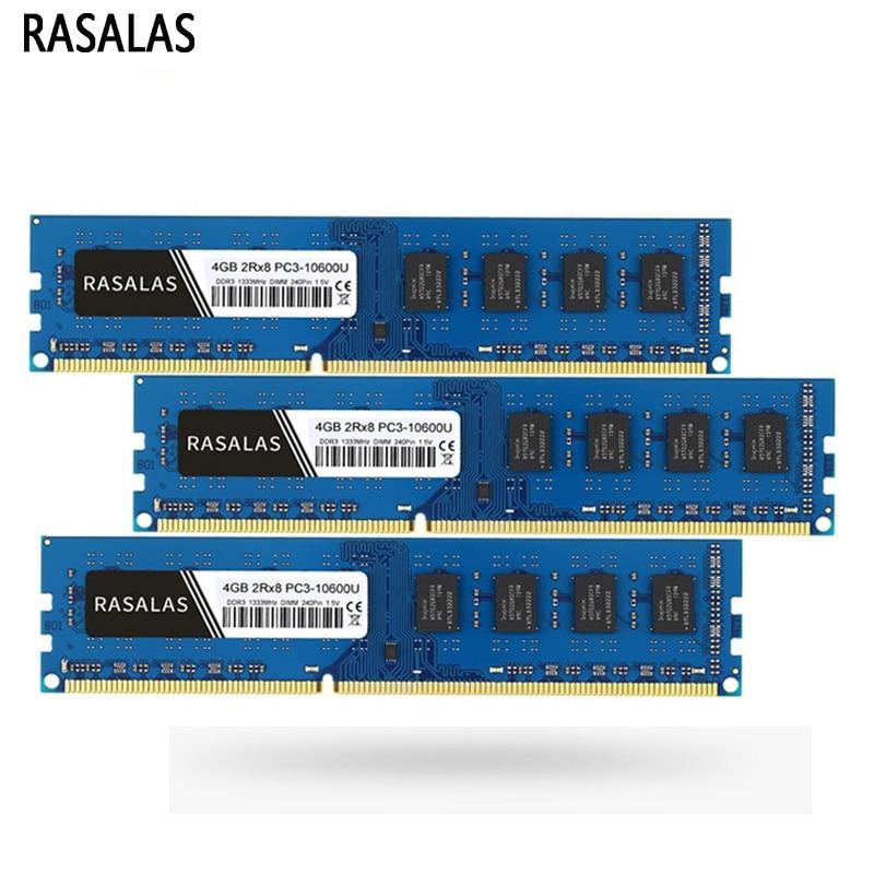 Rasalas DDR3 RAM 4GB 8GB 1066MHz 1333MHz 1600MHz escritorio Memoria PC3-8500 PC3-10600...