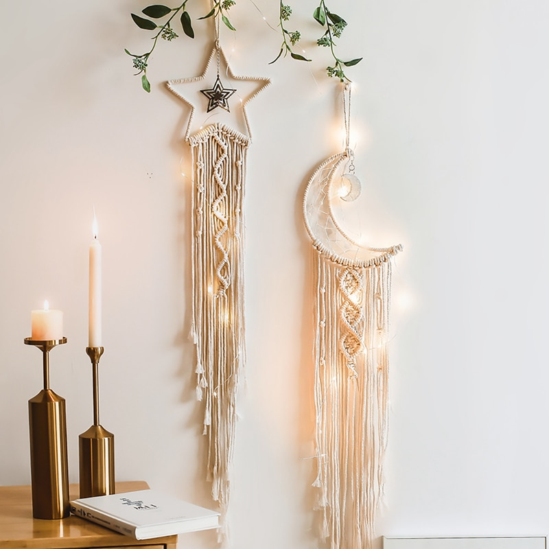 nordic handmade baby room nursery star garlands christmas kids room wall decorations photography props best gifts Nordic Star Moon Macrame Wind Chimes Christmas Room Decoration Boho Room Decor Girls Kids Room Nursery Gifts Wall Hanging Decor