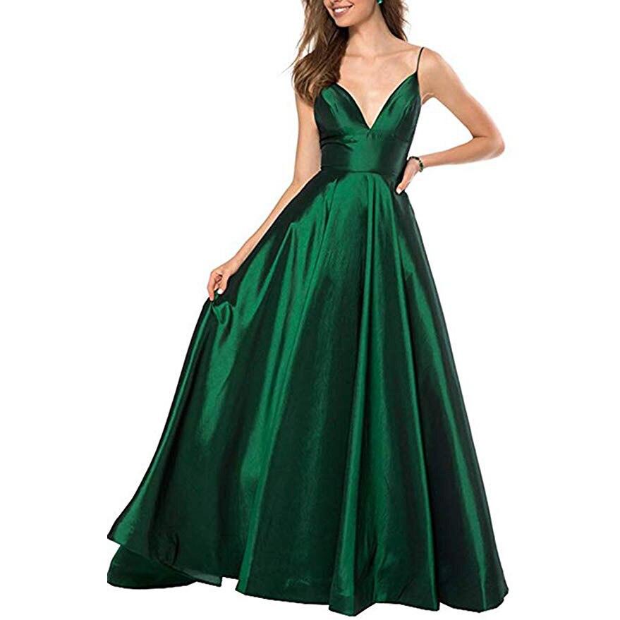 AE758 Green Black Blue 2021 Mermaid Evening Dresses Long Spaghetti Straps V-Neck Satin Vestido Longo Party Dress