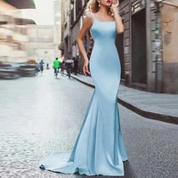 light sky blue party gowns square mermaid trumpet sweepbrush evening dresses beading sleeveless open back party dresses 2021
