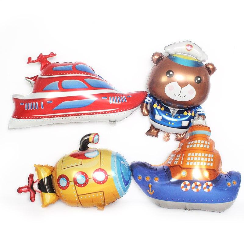 Globos de Transporte de coches de dibujos animados barco de vapor submarino lámina de yates cumpleaños fiesta decoraciones niños oso globos