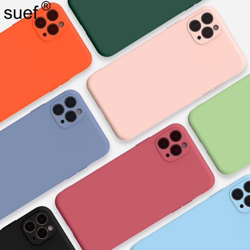 Funda de teléfono suef para iPhone 11 Pro Max X Xs Max Xr 7 8 6 6s Plus Color caramelo suave TPU silicona lisa Color sólido contraportada mate