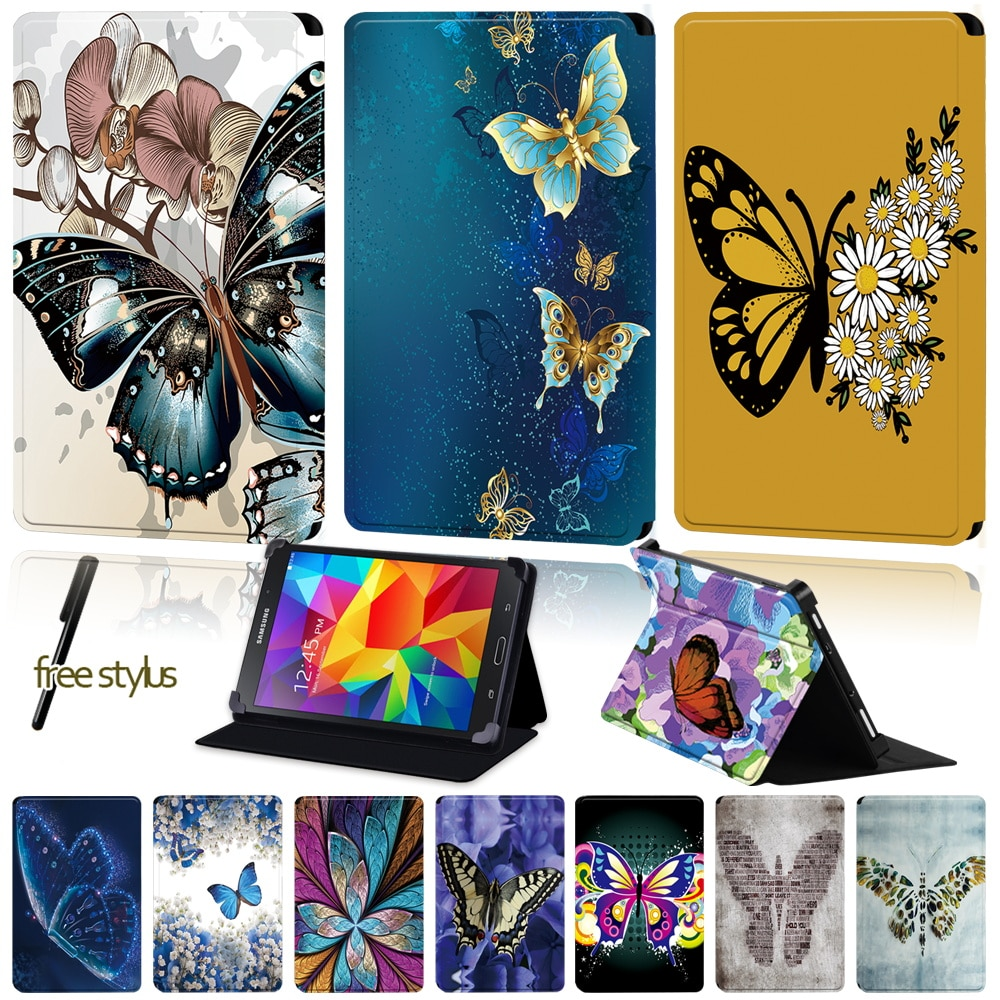 Universal Tablet Case for Samsung Galaxy Tab 4/Tab 3/Tab 2/Tab 10.1/Tab 10.1 LTE Butterfly Pattern Series PU Leather Cover Case