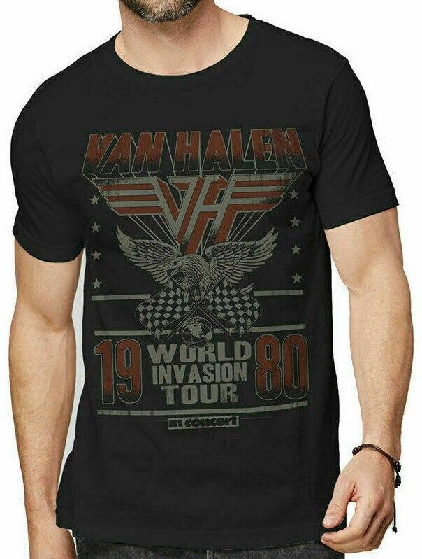 Camiseta de la gira mundial Van Halen, 1980, para fiesta oficial, hasta que muerda, S, M, L, Xl