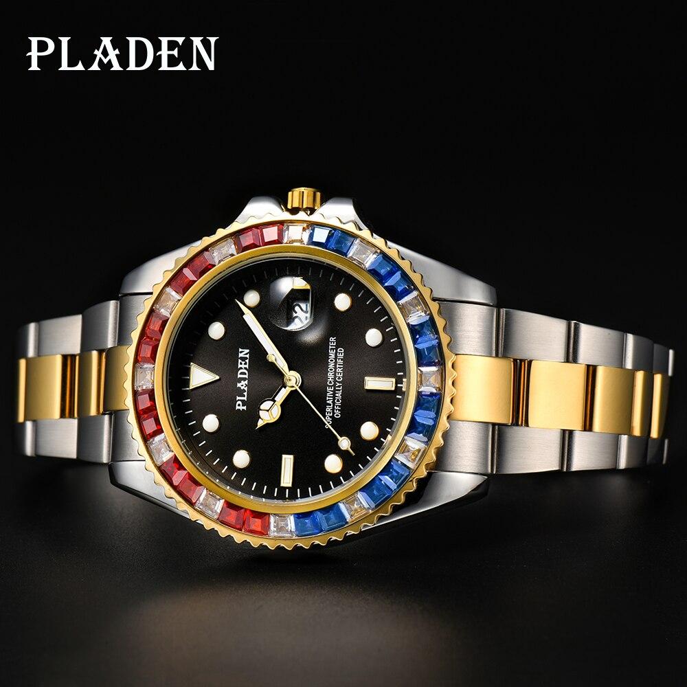 Vermelho e Azul Relógio de Pulso Presente do Marido Pladen Relógios Homem Diamante Negócios Japão Movimento Natação Mergulho Réplica Relógio Militar