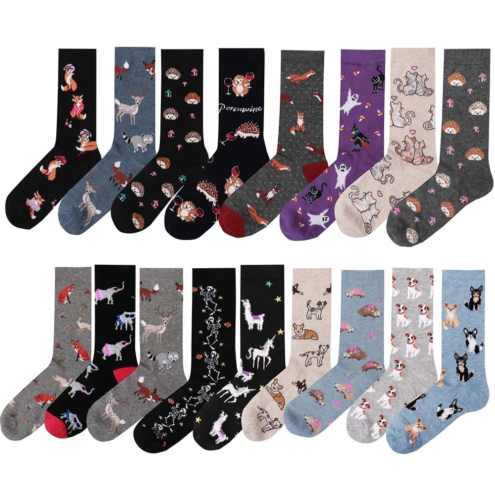 Women Girl Casual Cotton Happy Socks Harajuku Hip Hop Beaches Colorful Flowers Funny Gift