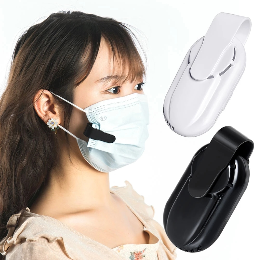 5Pcs Summer Cooling Mask Air Fan Clip-On Air Filter USB Rechargeable Exhaust Face Mask Mini Fans Per