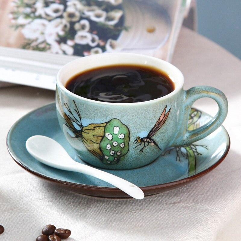 Ceramic Coffee Cup Set Porcelain Travel Retro Tea Cup Japan Porcelain Hand Painted Teacups Bone China Xicaras Saucer Set II50BYD