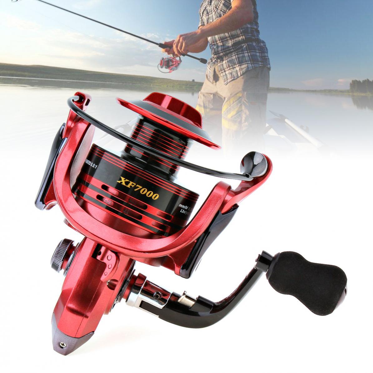Serie 7000 13 + 1 rodamientos de bolas 4,7 1 carrete de pesca giratorio de brazo plegable totalmente metálico 3 colores opcionales con mango de EVA