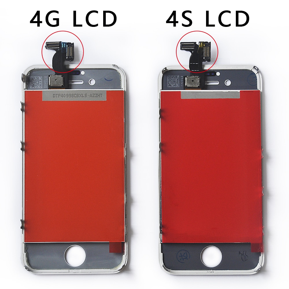 OTMIL para iPhone 4 4S No Dead PixelLCD Pantalla táctil con marco digitalizador piezas de repuesto para iPhone 4 4S Pantalla LCD