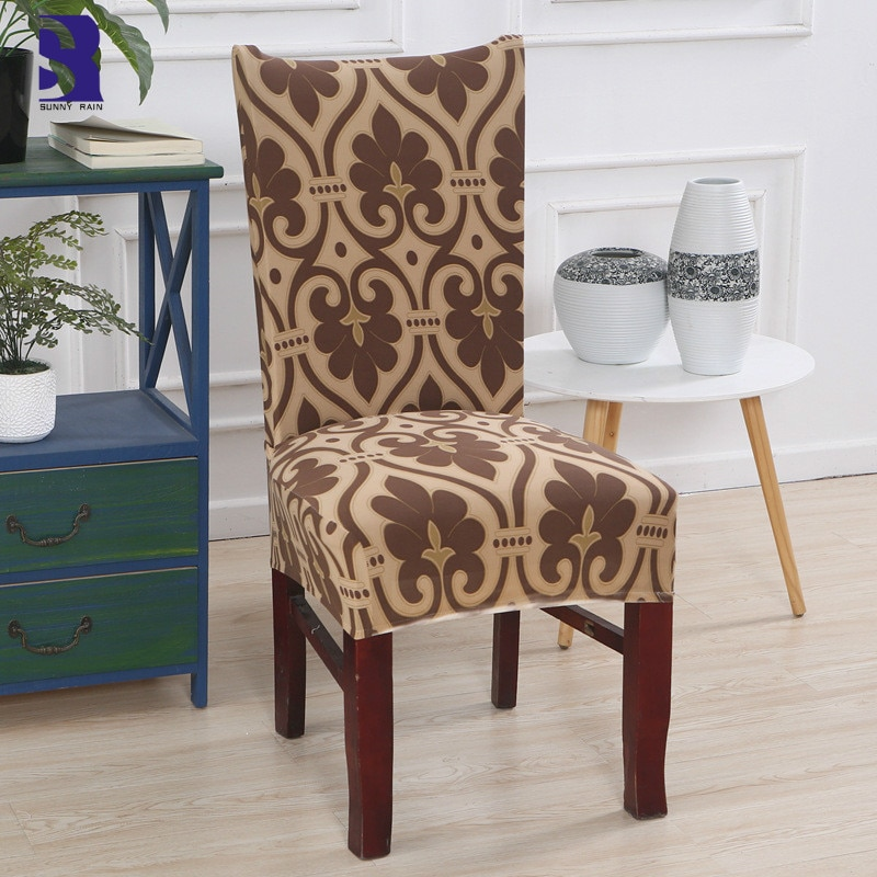 SunnyRain 4/6-Piece Spandex Chair Cover Set Elastic Cover Chair for Christmas Dinner