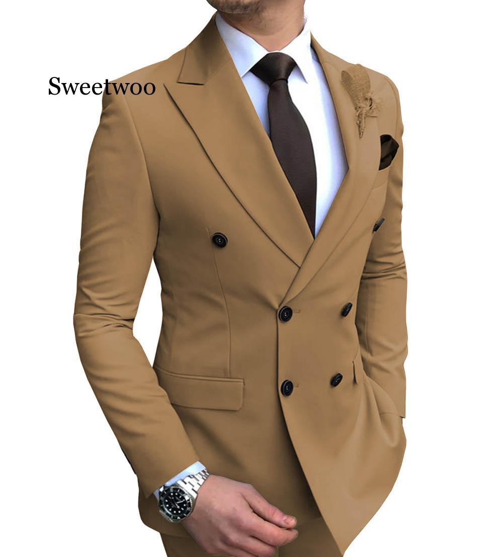 2020 New 2 piece suit Men's blazer suit jacket Slim Fit Double-Breasted Notch Lapel Blazer(Blazer +pants) notch collar pleated panel blazer