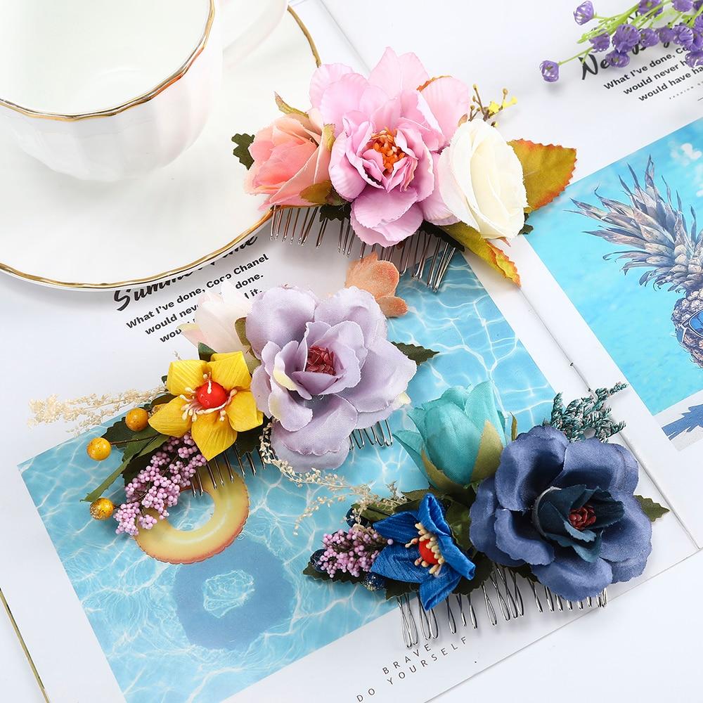 Peineta de flor Rosa AWAYTR, horquillas para el cabello para mujeres, accesorios para el cabello de boda, adornos para la cabeza para niñas, decoraciones para el cabello hechas a mano
