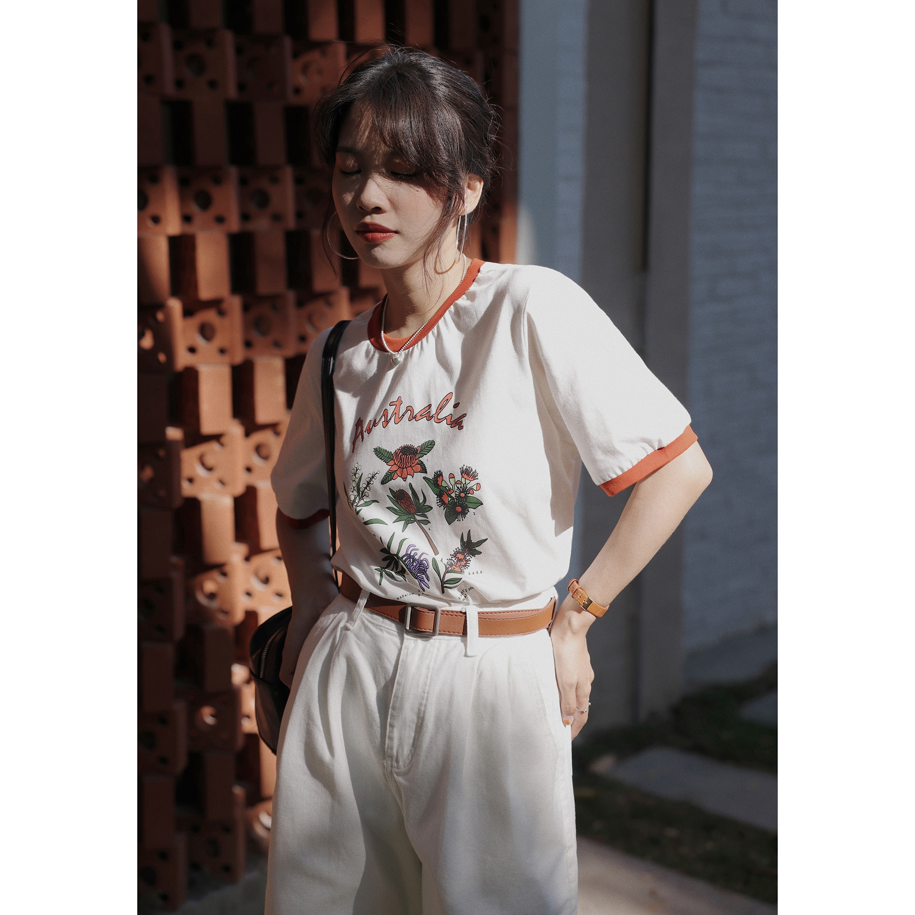 OYANXI الجولة الرقبة التباين اللون تصميم قصيرة الأكمام تي شيرت المرأة الصيف جديد ريترو رسالة الطباعة رداء علوي غير رسمي
