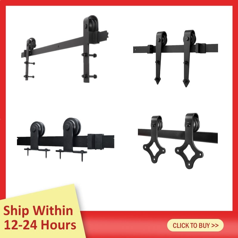 4 Kinds Barn Door Hanging Rail For Europe Rustic Black Sliding Hardware Cabinet Wood Door Sliding Track Kit Ship From France HWC