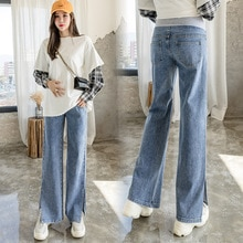 6669# Wide Leg Side Split Denim Maternity Full Long Jeans Cotton Belly Loose Pants Clothes for Pregn