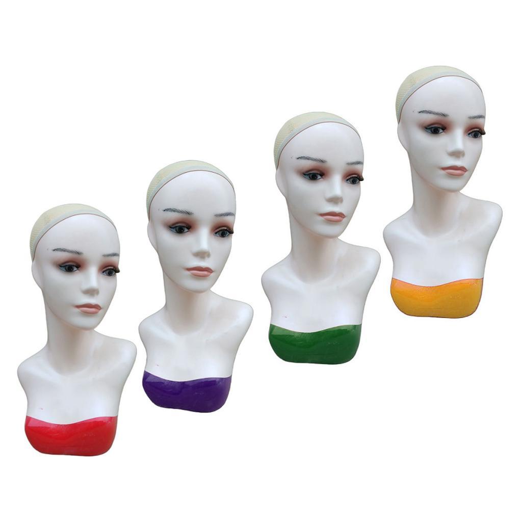 Cabeça de Manequim Bonita com Tampa de Rede Careca Fêmea Realista Maquiagem