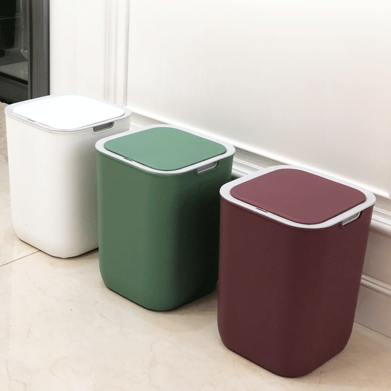 Ecoco White Trash Can Square Plastic Kitchen Bedroom Automatic Waste Bins Sensor Toilet Basurero Cocina Cleaning Tools EH50WB