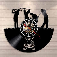 Golf Club Logo Wall Clock Sports Game Interior Home Decor Golf Guys Vinyl Record Wall Clock Golfers Decorative Clock Art Gift