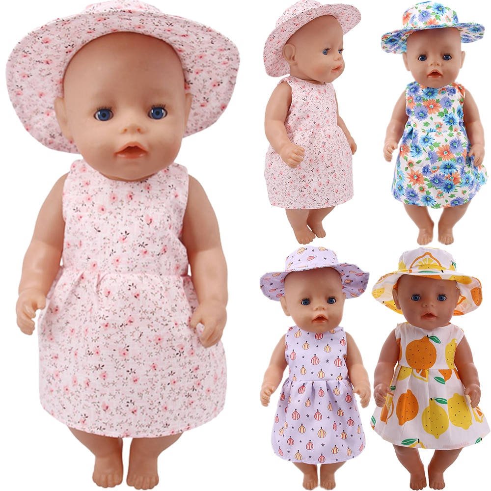 Free Shipping Handmade Flower Dress + Hat Doll Clothes For American 18 Inch Girl 43 cm Baby New Born