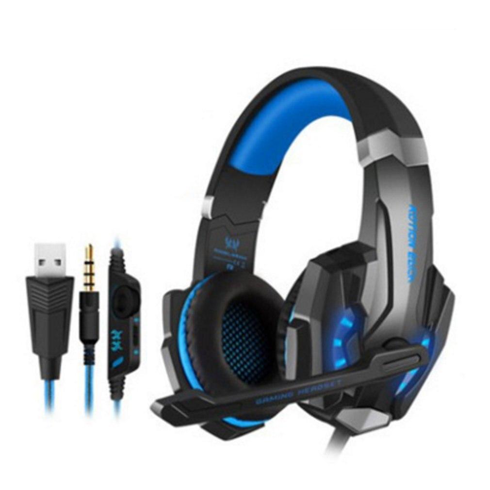 Fone de ouvido g9000 jogos 3.5mm, fone de ouvido com microfone, luz de led, para laptop, tablet, celulares