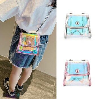 Детский мини-кошелек из 2021 ПВХ, Прозрачный лазерный кошелек для младенцев, маленький кошелек для монет, сумочка, прозрачная сумка