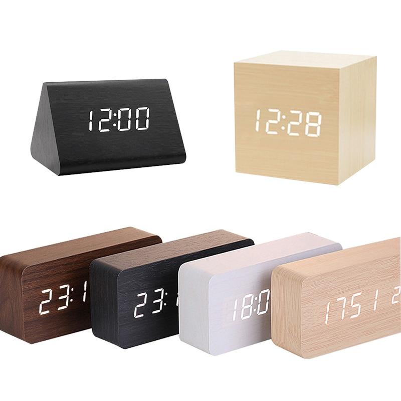 NEW Clocks LED Wooden Alarm Clock Watch USB/AAA Powered Table Voice Control Digital Wood Despertador Electronic Desktop clock