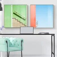 Toile de peinture coloree et lumineuse moderne abstraite pour personnes et escaliers  affiche dart mural imprimee pour decoration de salon et de maison