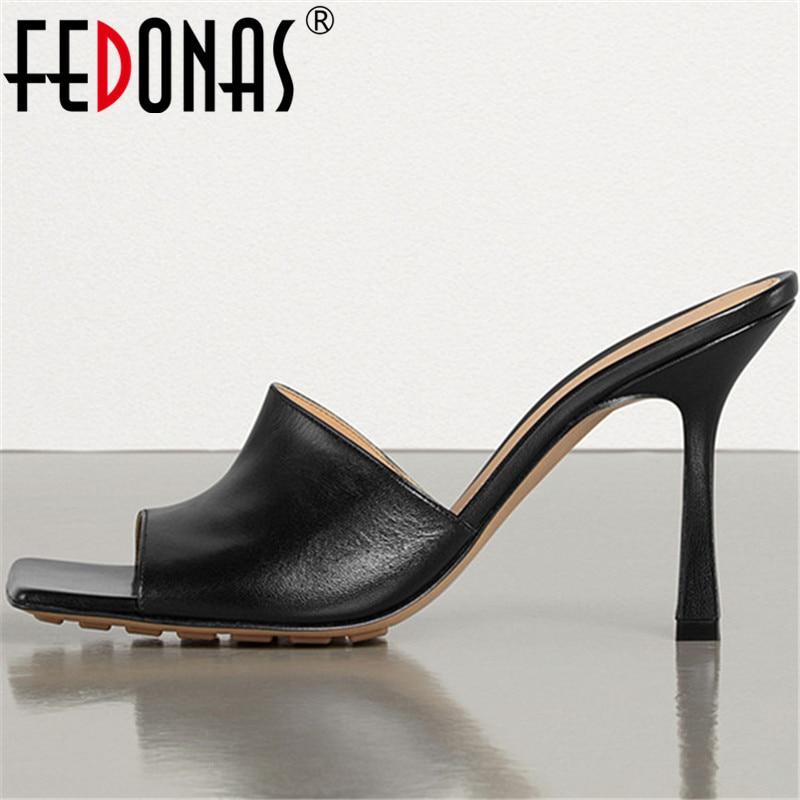 FEDONAS Genuine Leather High Heels Pumps Slingbacks Sexy Women Sandals 2020 Spring Summer Party Night Club Fashion Shoes Woman