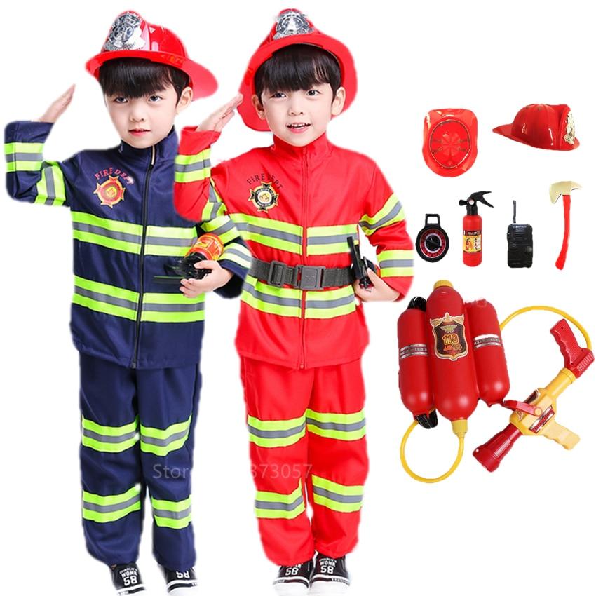 Halloween Costume for Kids Firefighter Uniform Children Sam Cosplay Fireman Role Play Fancy Clothing