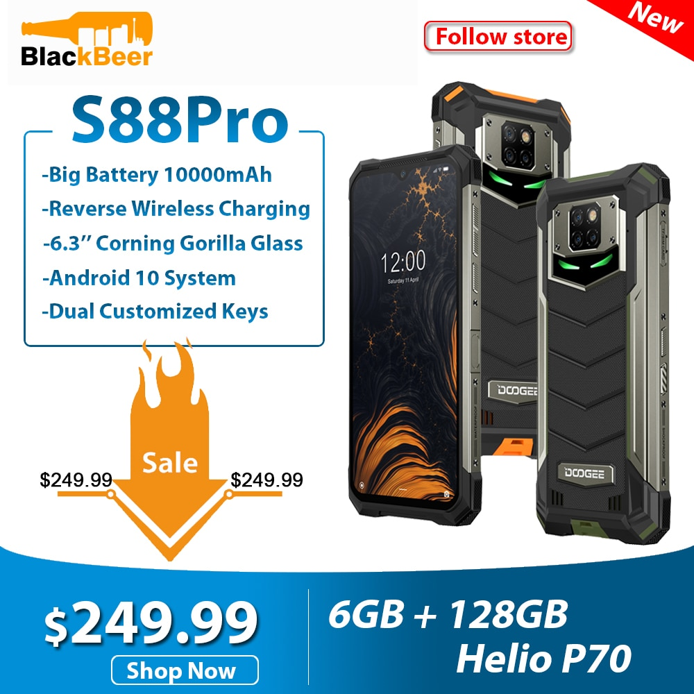 DOOGEE S88 Pro 6,3 дюйма прочный мобильный телефон IP68/IP69K смартфон Helio P70 Octa Core 6 ГБ 128 ГБ ROM мобильный телефон Android 10,0 10000 мАч