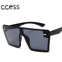 Oversized Square Sunglasses Women Luxury Brand Flat Top Red Black Clear Lens Candy Color One Piece M