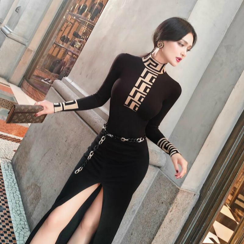 2020 nuevo primavera y otoño moda casual sexy Split marca femenina mujeres niñas stretch manga larga Vestido de punto ropa