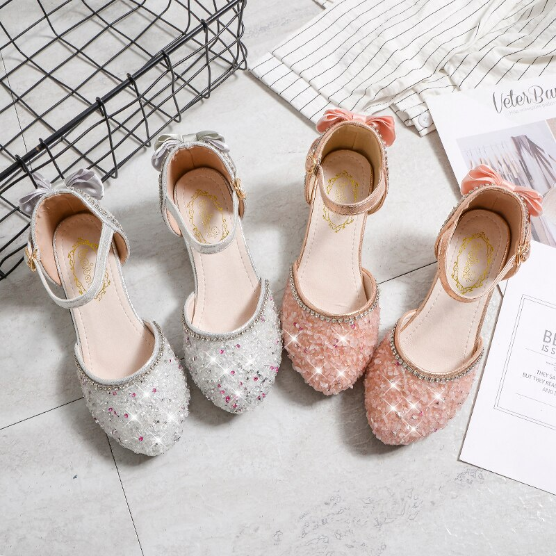 4-12year Children Shoes Girls High Heel Princess Dance Sandals Kids Leather white shoe Fashion Girls Party Shoes Christmas gift enlarge