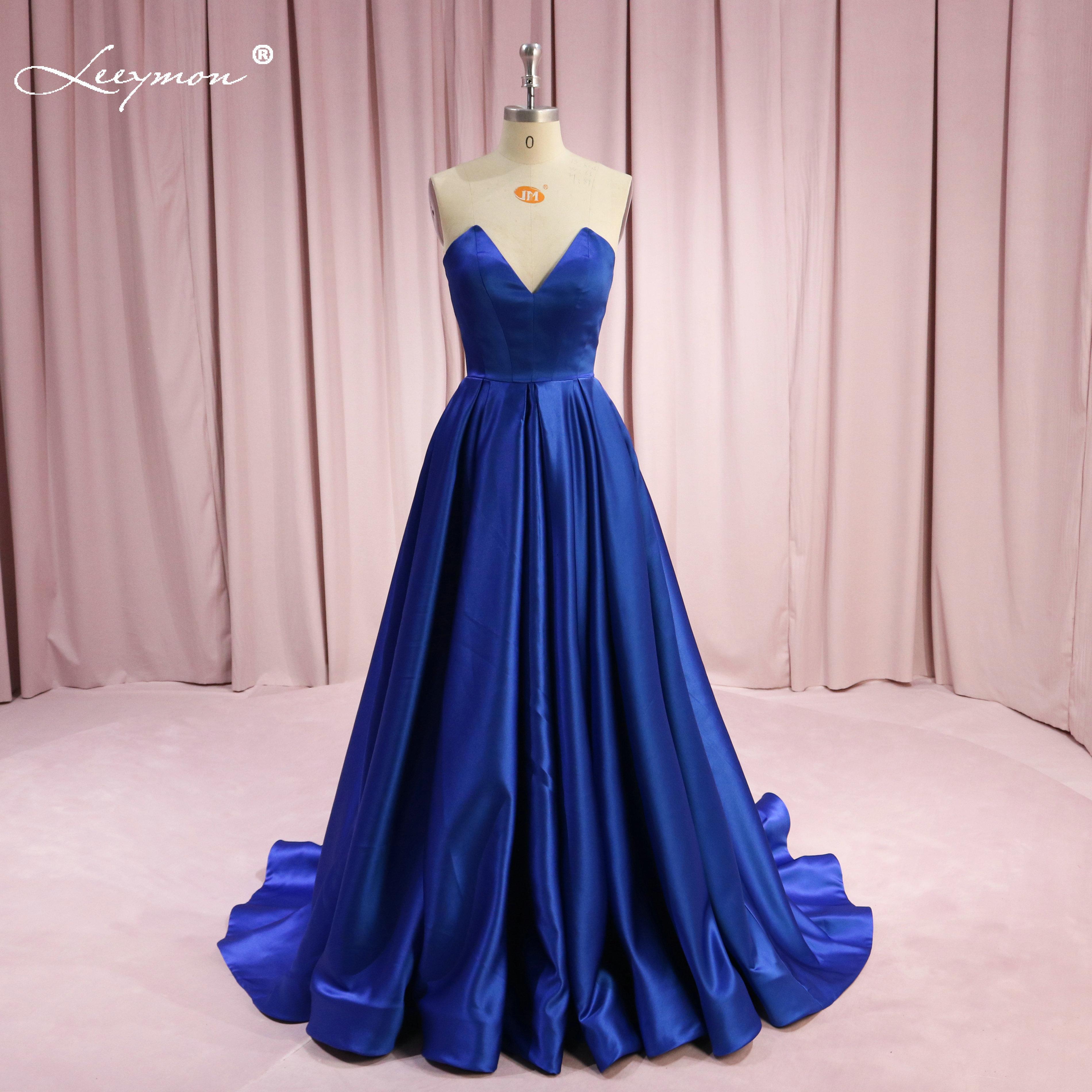 Leeymon A-line Satin Evening Dress Sweetheart Strapless Royal Blue Long Evening Gown Vestido De Festa Floor-Length