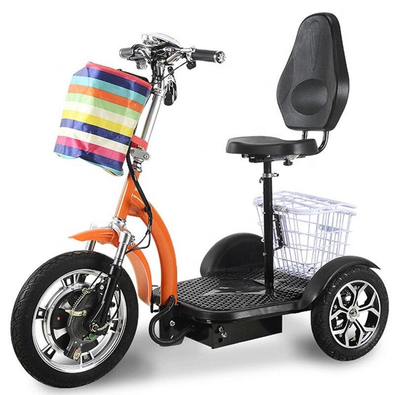 Трехколесный электрический трехколесный велосипед 48В 500 Вт, Электрический скутер для взрослых и пожилых людей со съемным аккумулятором, корзина для шопинга с колесами